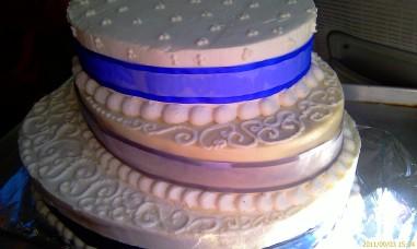 Three Tier Three Flavor Oval Wedding Cake