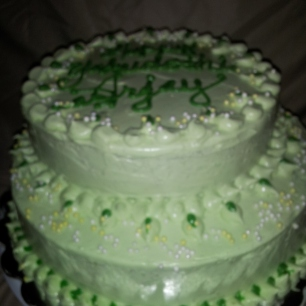 Green Theme Birthday Cake with Custom Borders