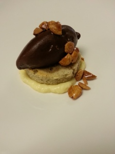 Yuzu Cremeux, Jasmine tea pound cake, house made Chocolate sorbet, roasted caramel Marcona almonds