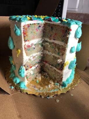 Four layer funfetti cake