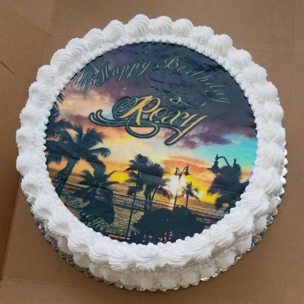 Birthday Cake with Edible Image of Sunset taken by the Chef